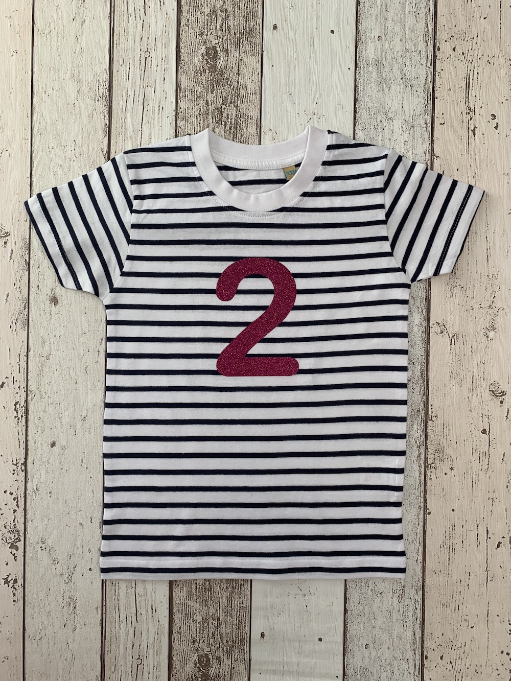Number 2 Stripe Birthday T-shirt