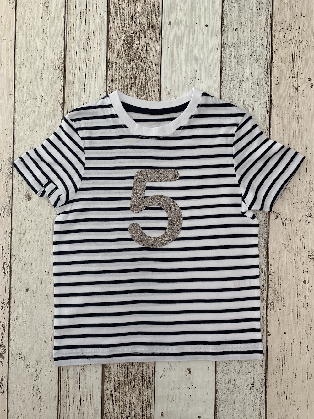 Number 5 Stripe Birthday T-shirt