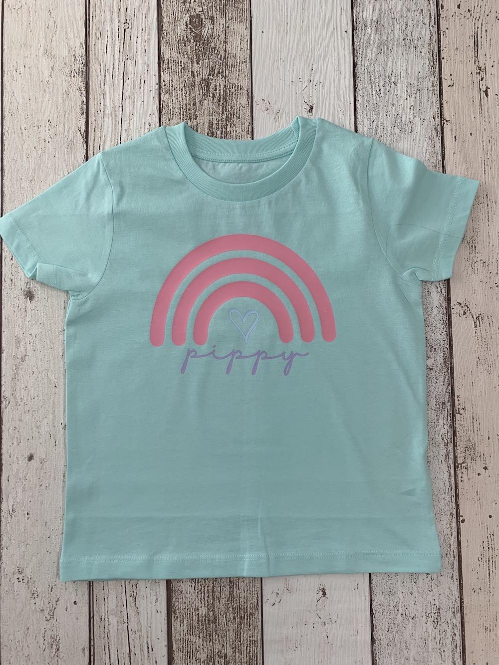 Rainbow Personalised Tshirt – Mint Green