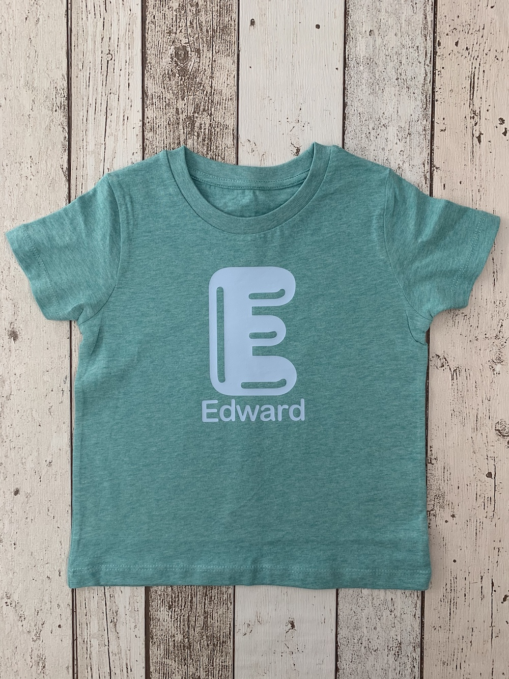 Bubble Initial Tshirt – Mint And Pale Blue