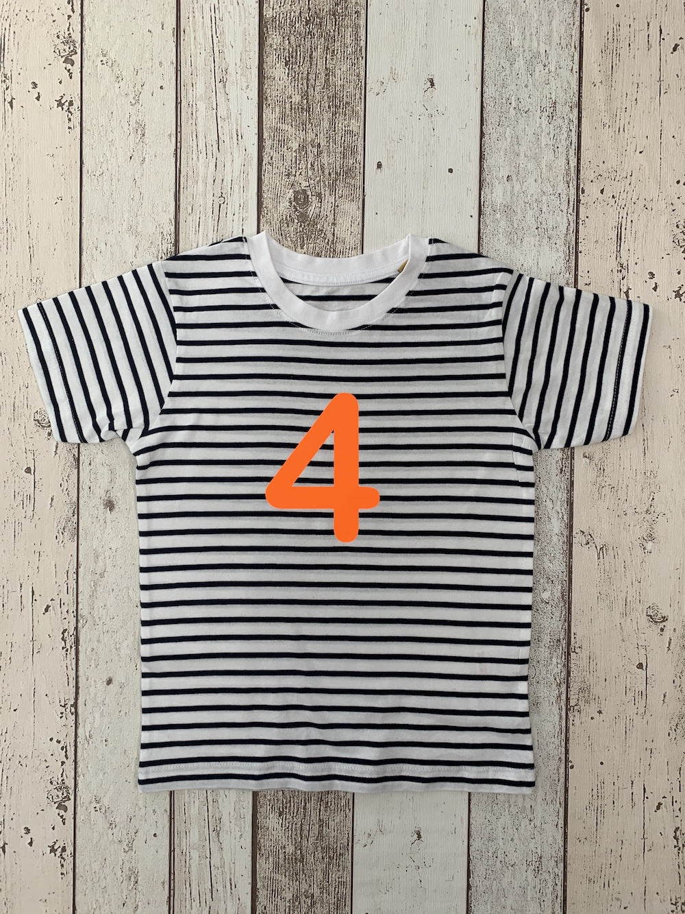 Number 4 Stripe Birthday T-shirt