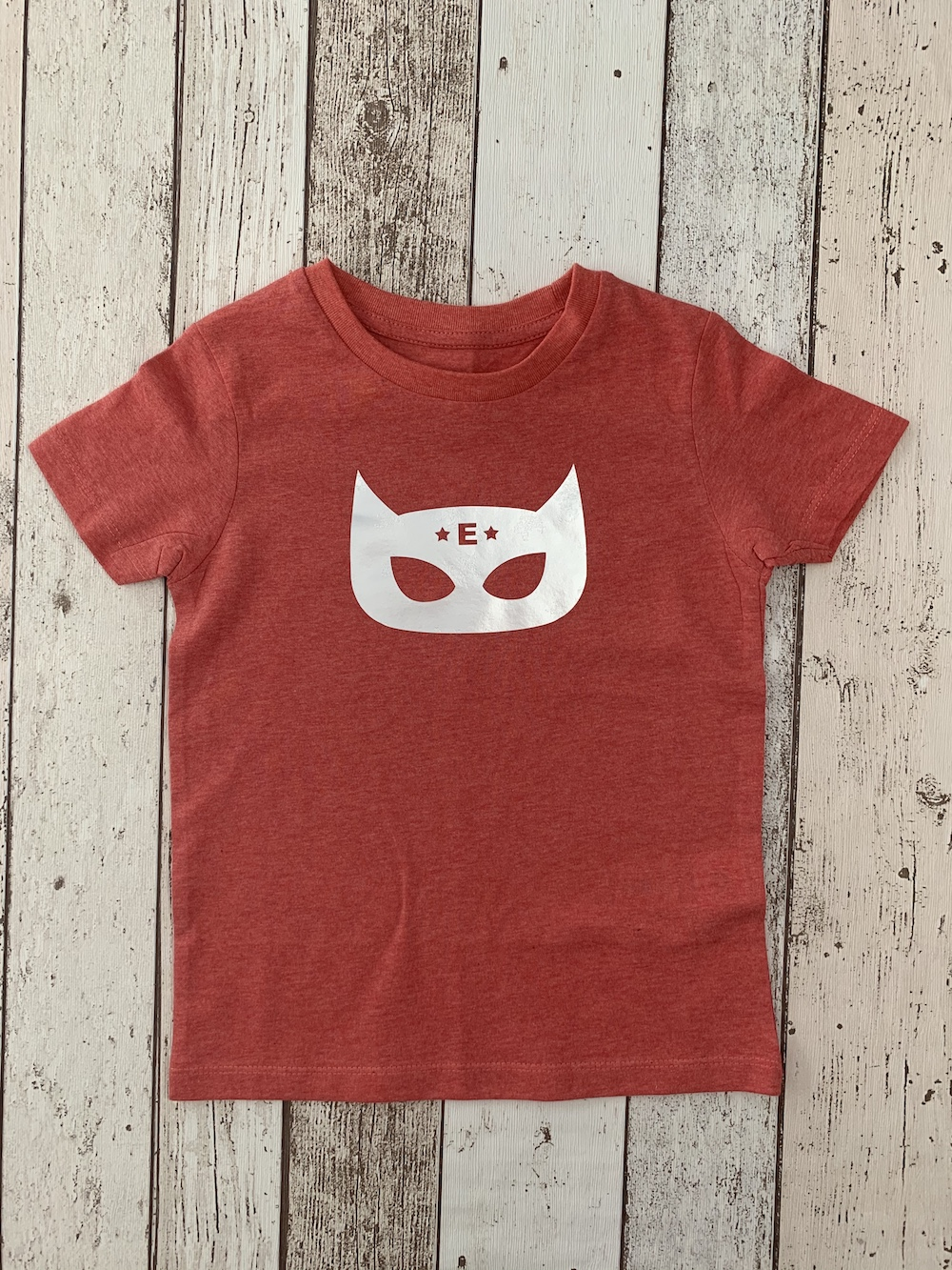 Superhero Personalised Tshirt – Heather Red And Silver