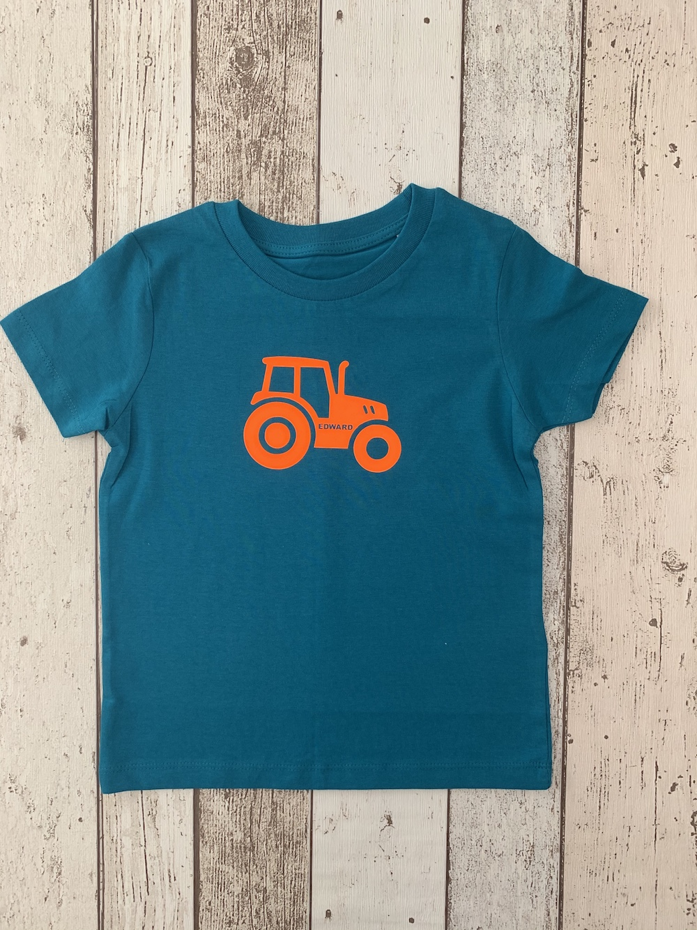 Tractor Personalised Tshirt – Ocean And Orange