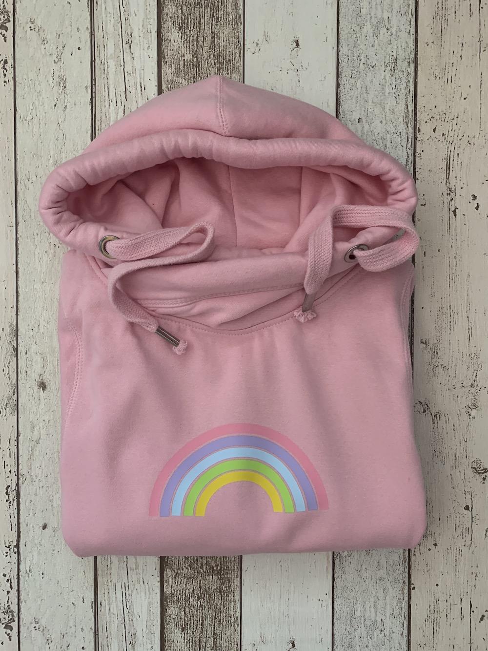 Rainbow Cowl Neck Womens Hoodie – Pink