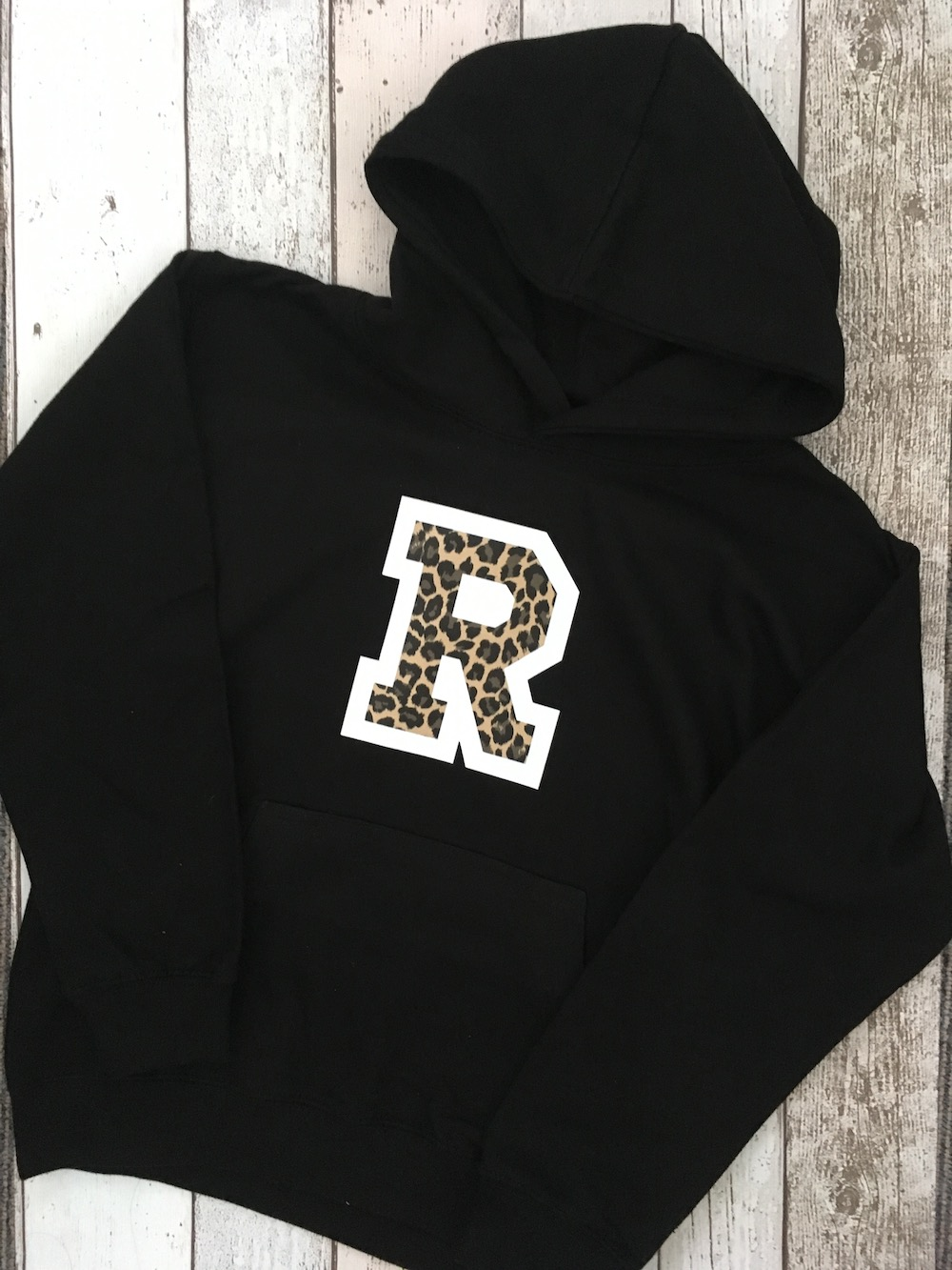 Large Initial Hoodie – Black And Leopard Print