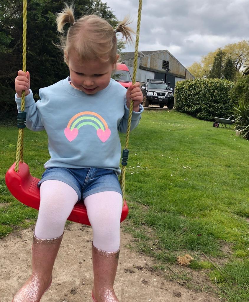 Glitter Rainbow Sweatshirt – Sky Blue