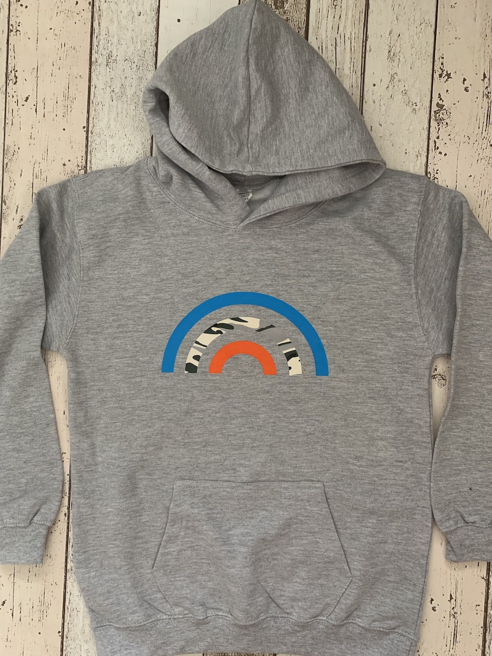 Rainbow Hoodie – Camp, Orange And Blue