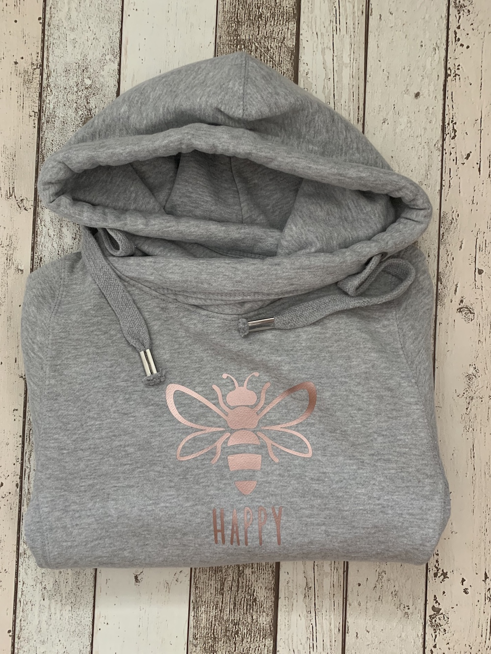 Bee Happy Cowl Neck Womens Hoodie – Grey And Rose Gold