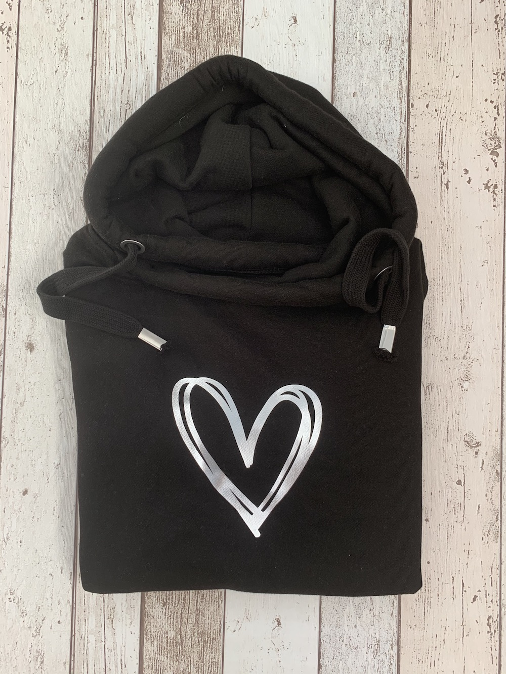 Signature Heart Cowl Neck Womens Hoodie – Black And Silver