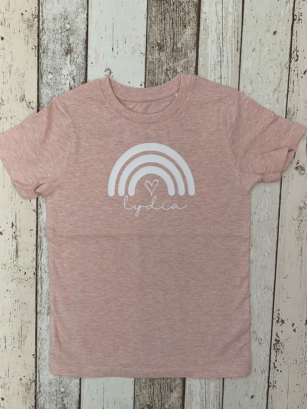 Rainbow Personalised Tshirt – Pink And White