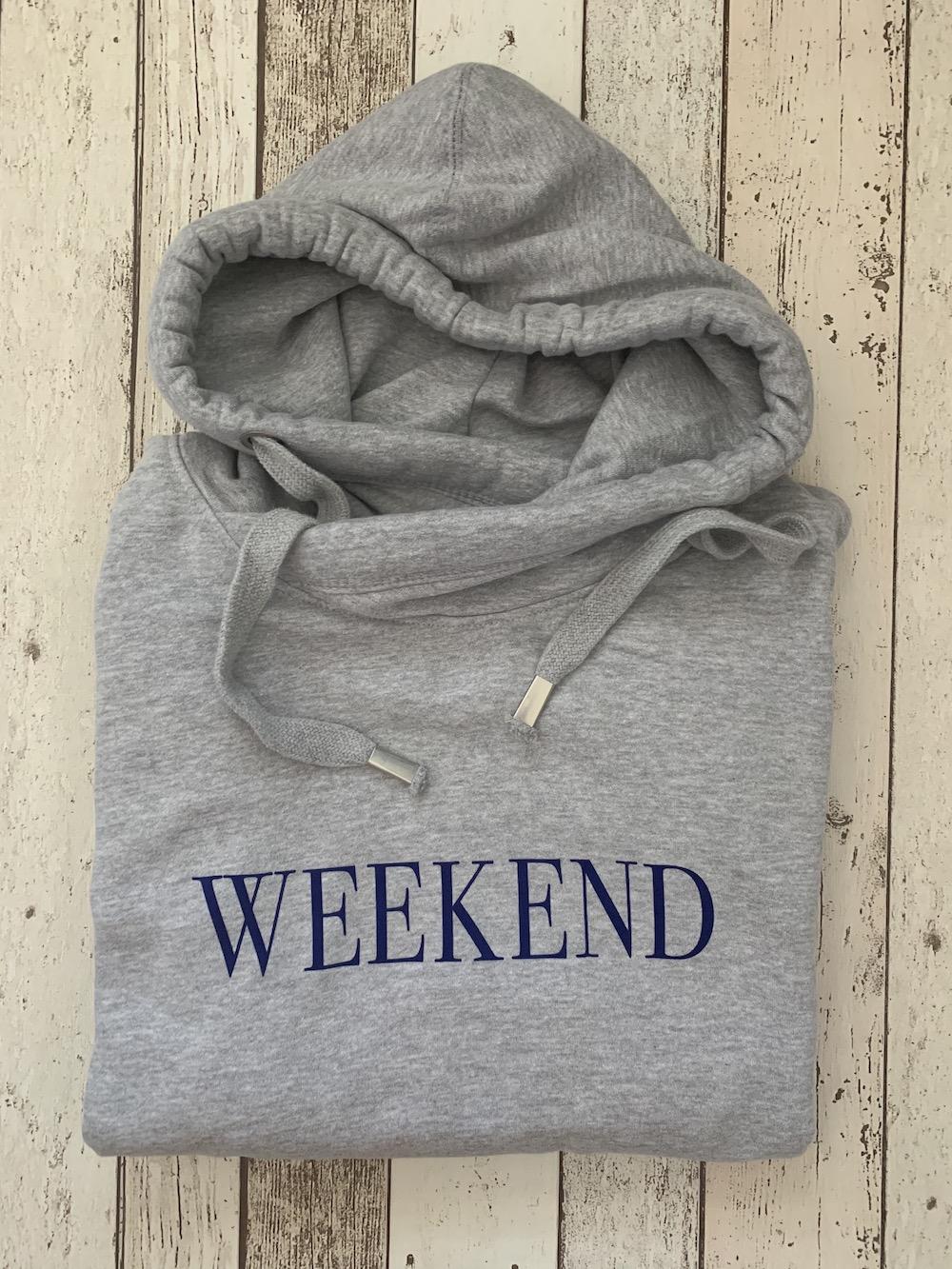 Weekend Cowl Neck Womens Hoodie – Grey And Navy