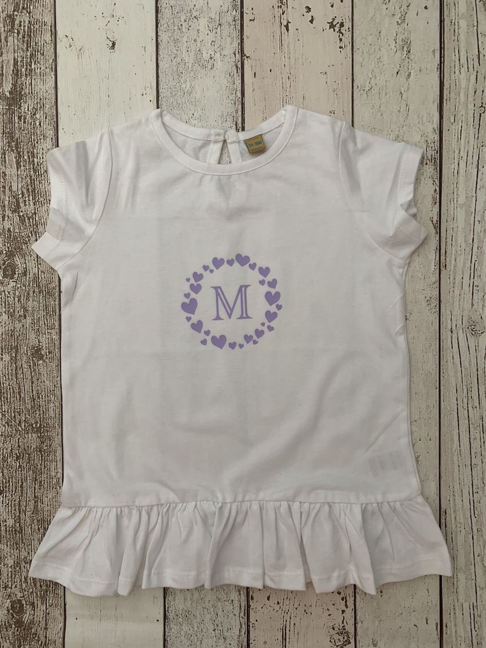 Personalised Frill Longline Tshirt – Hearts Lilac