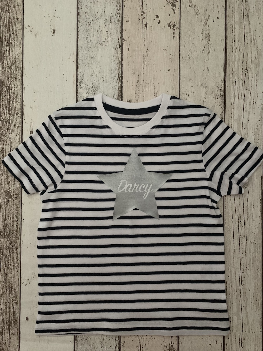 Personalised Star Stripe T-shirt – Silver