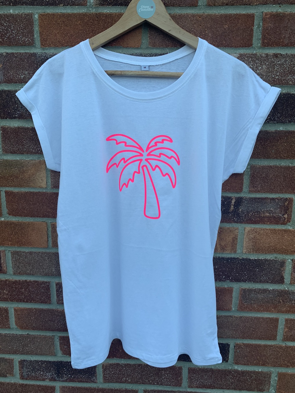 Palm Tree Tshirt – White And Neon Pink