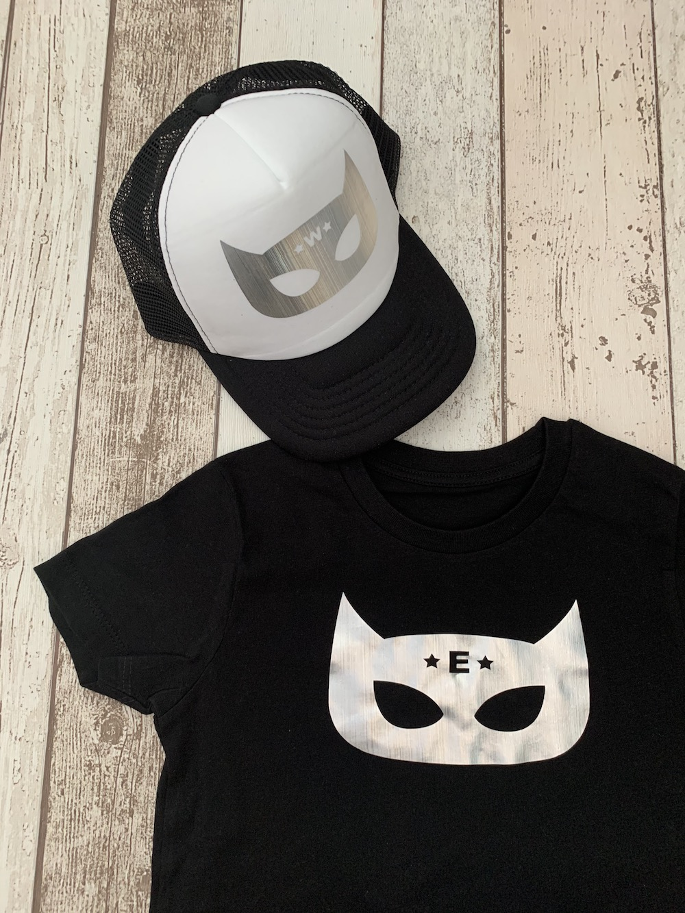 Superhero Personalised Tshirt And Cap Set – Black