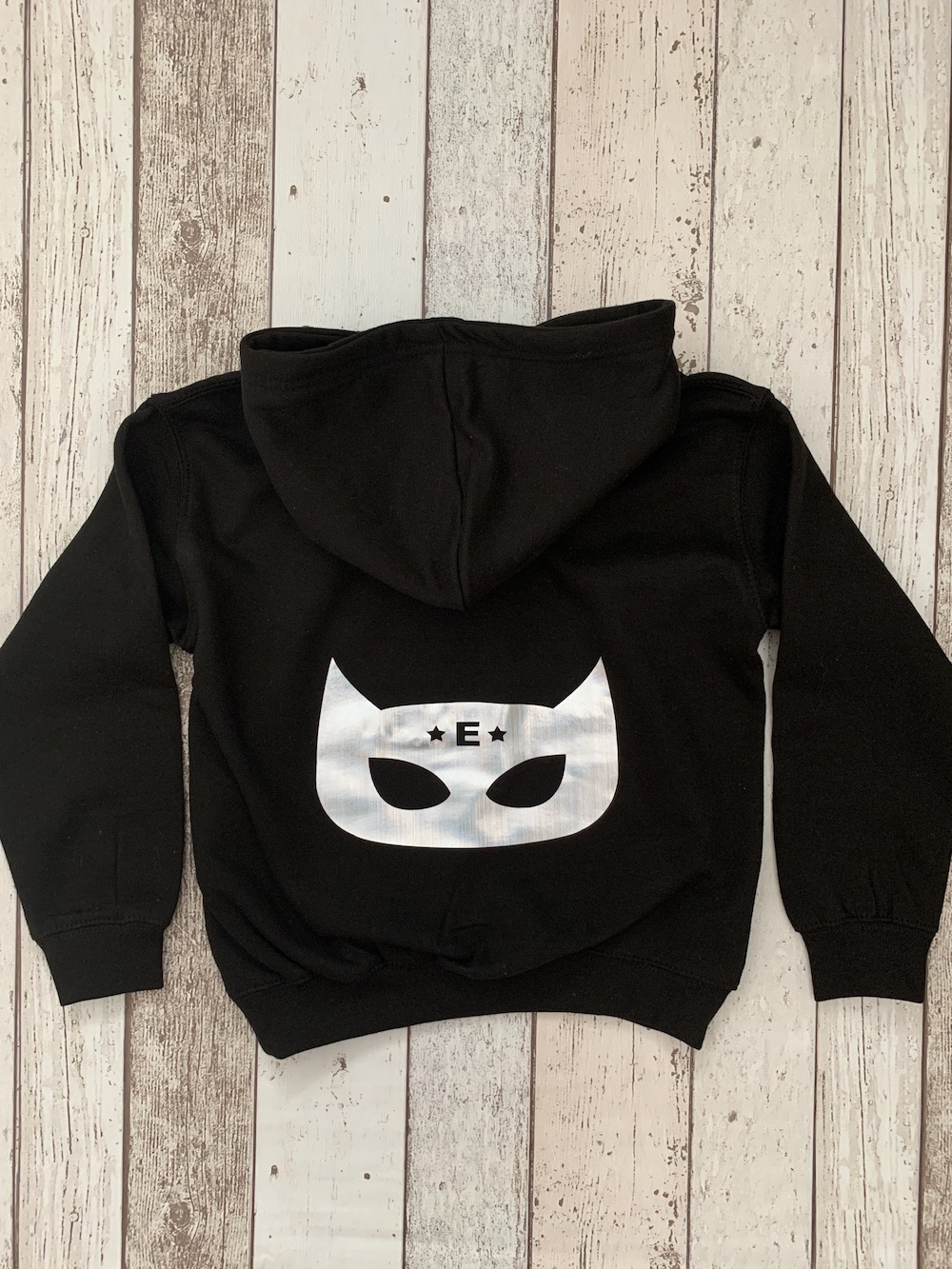 Superhero Personalised Hoodie – Black And Hologram