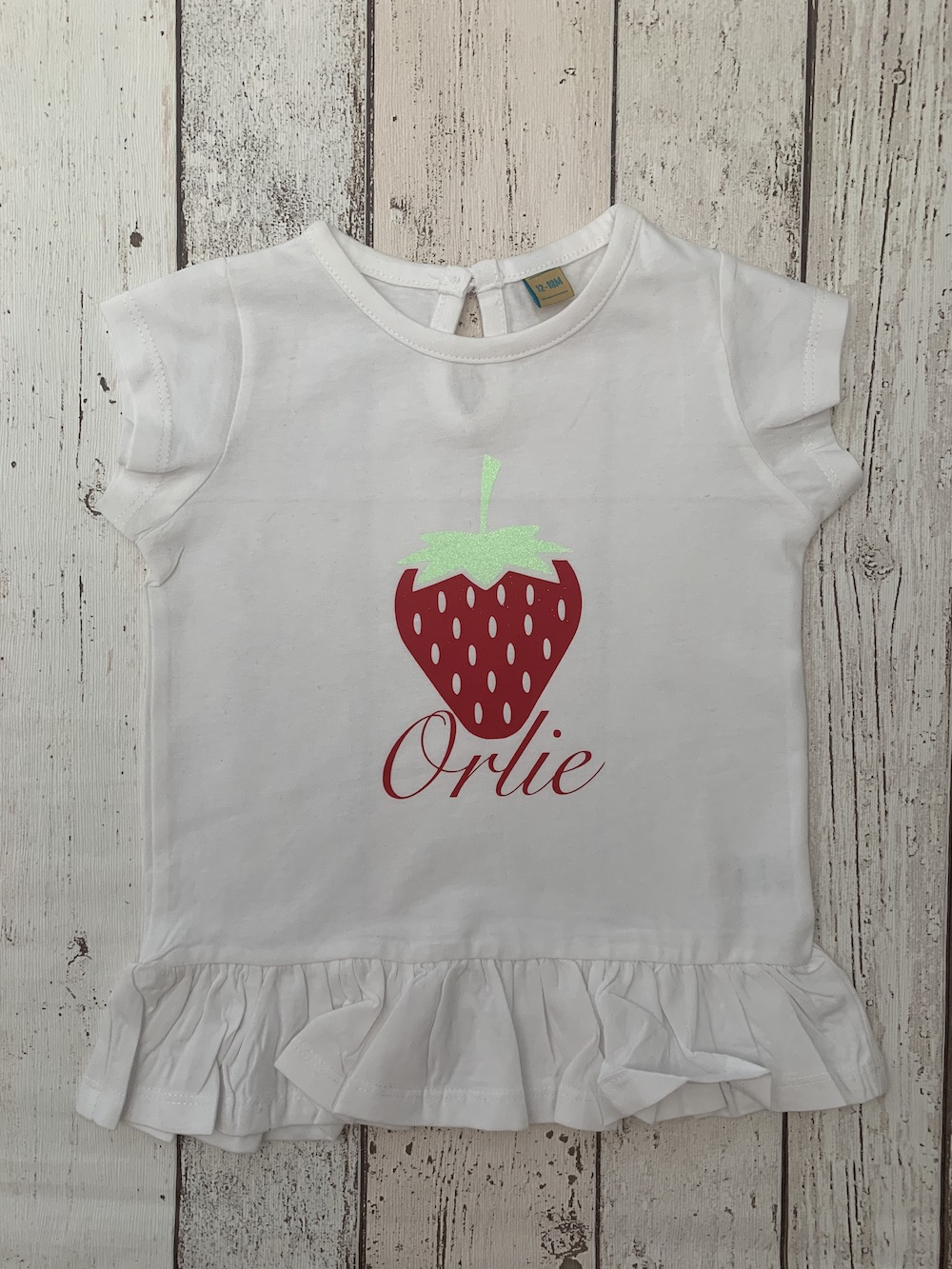 Personalised Frill Longline Tshirt – Strawberry