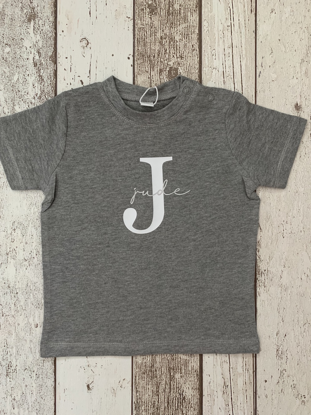Script Initial Tshirt – Grey And Silver
