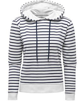 Snuggle Hoodie – White And Navy Stripe