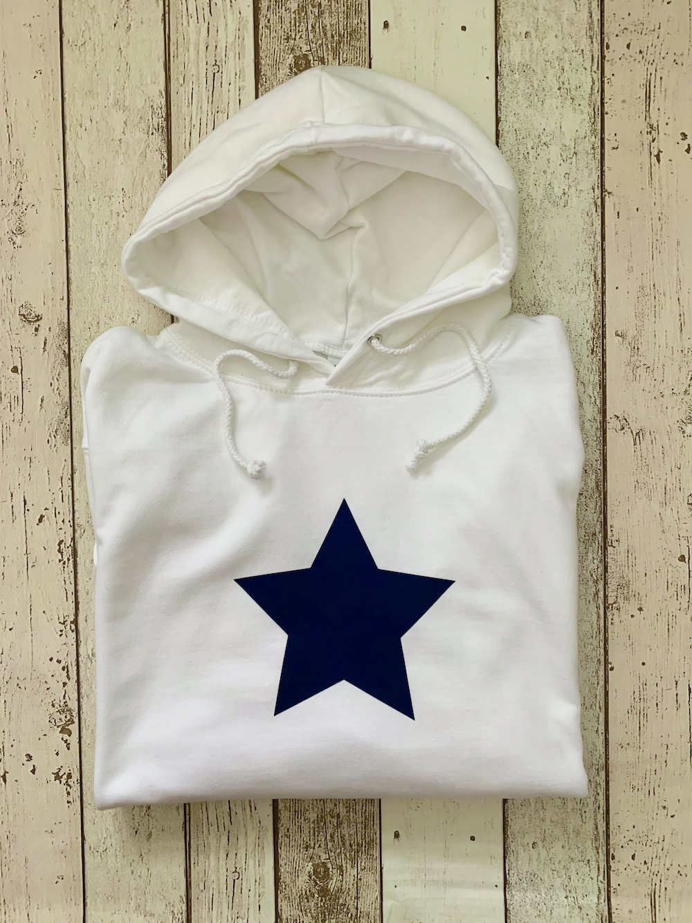 Star Summer Hoodie – White And Navy