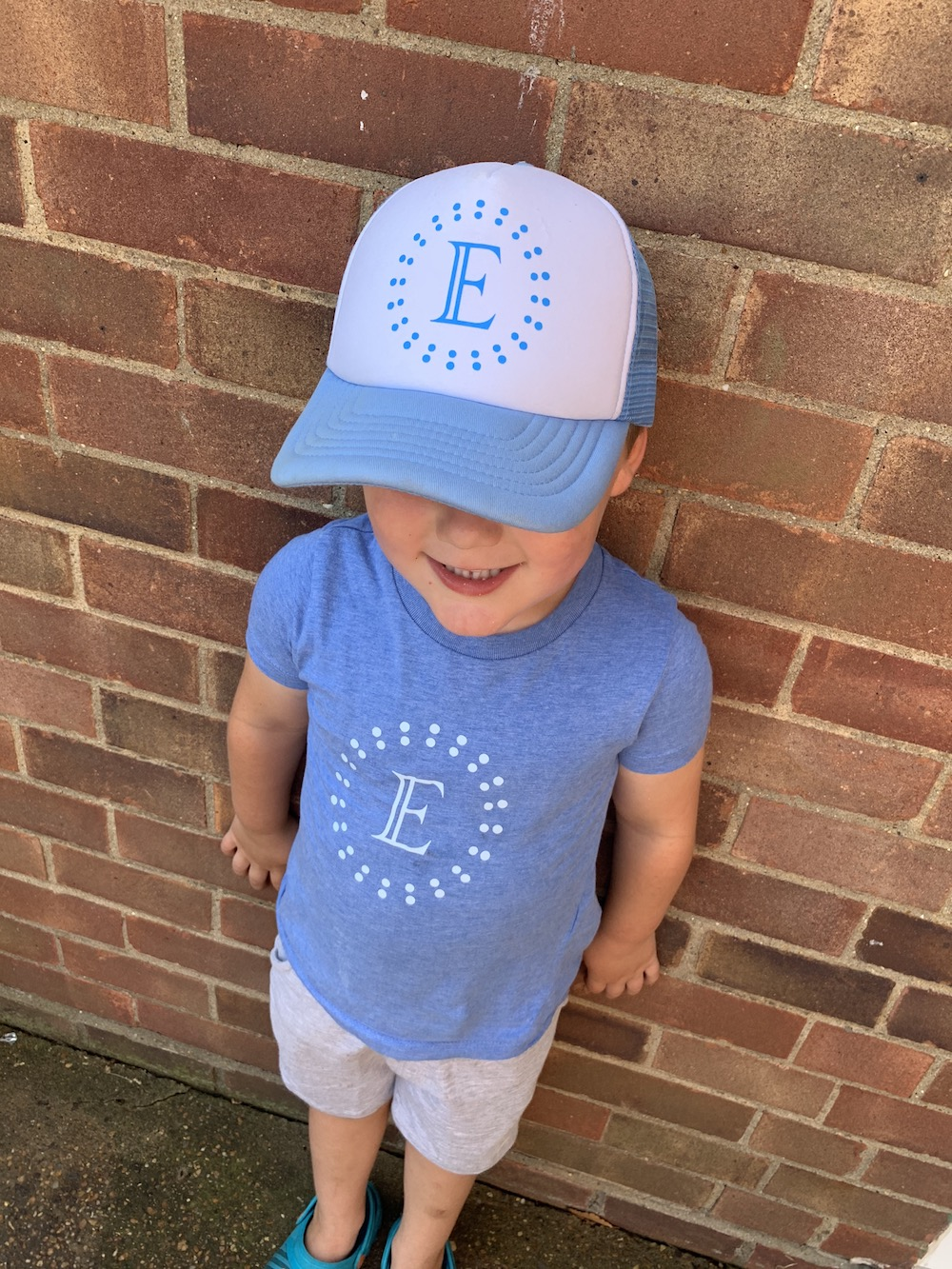 Personalised Dotty Cap – Pale Blue