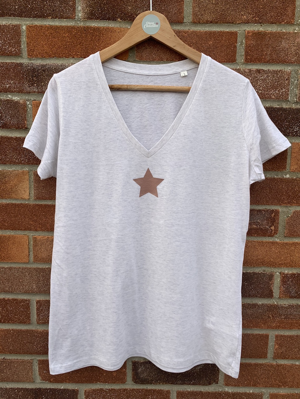 Star V Neck Classic Tshirt – Cream And Rose Gold