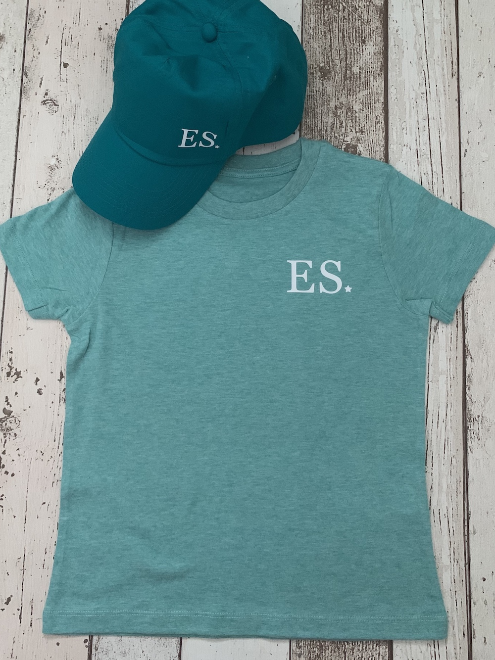 Initials Personalised Tshirt And Cap Set – Mint
