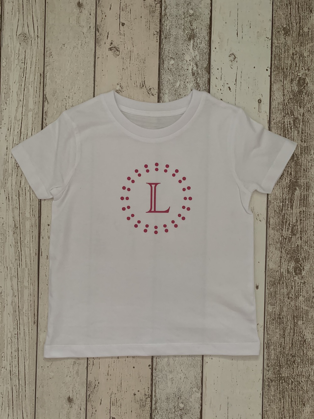 Circles Personalised Tshirt – White And Pink