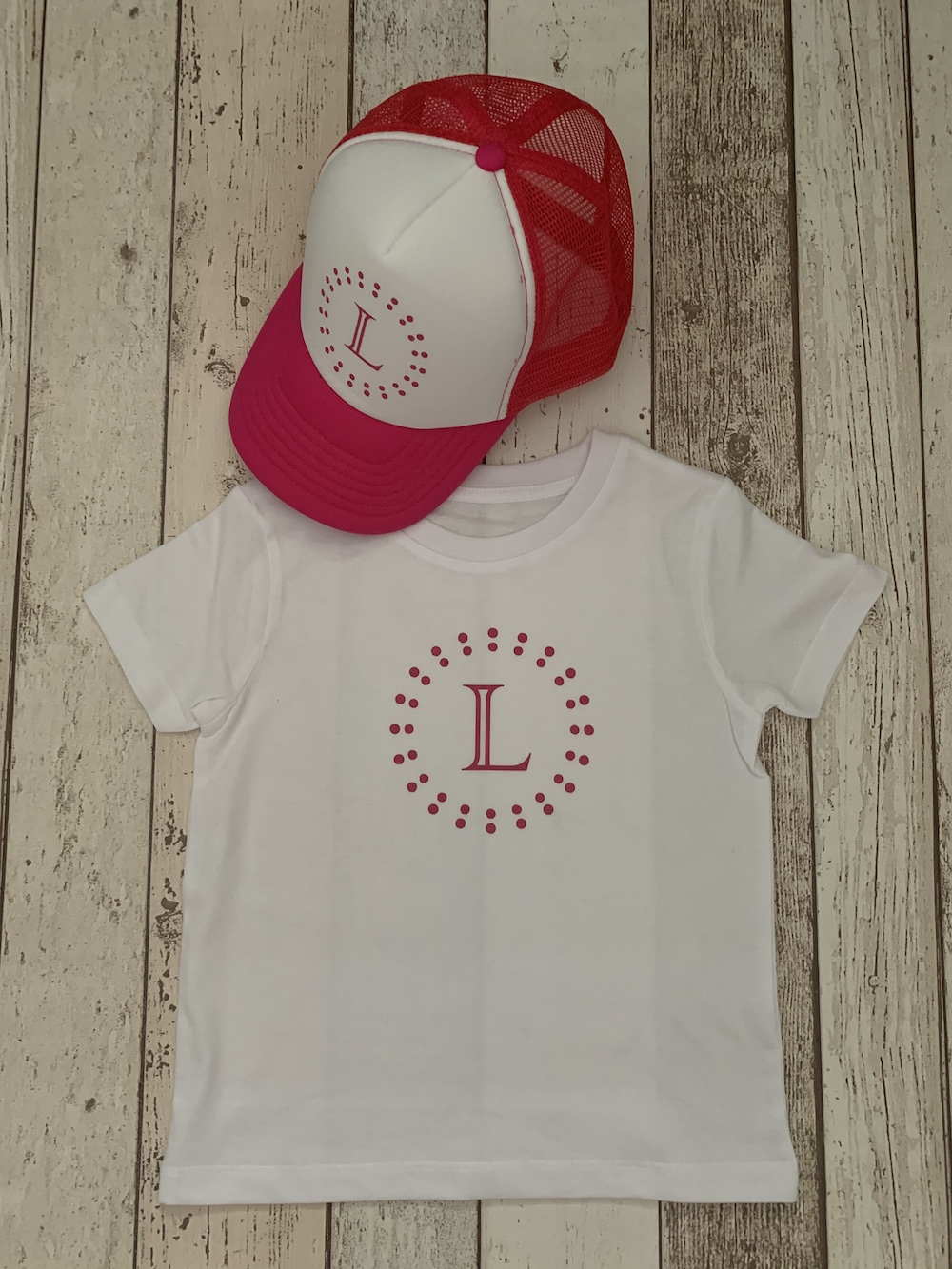 Dotty Personalised Tshirt And Cap Set – Pink