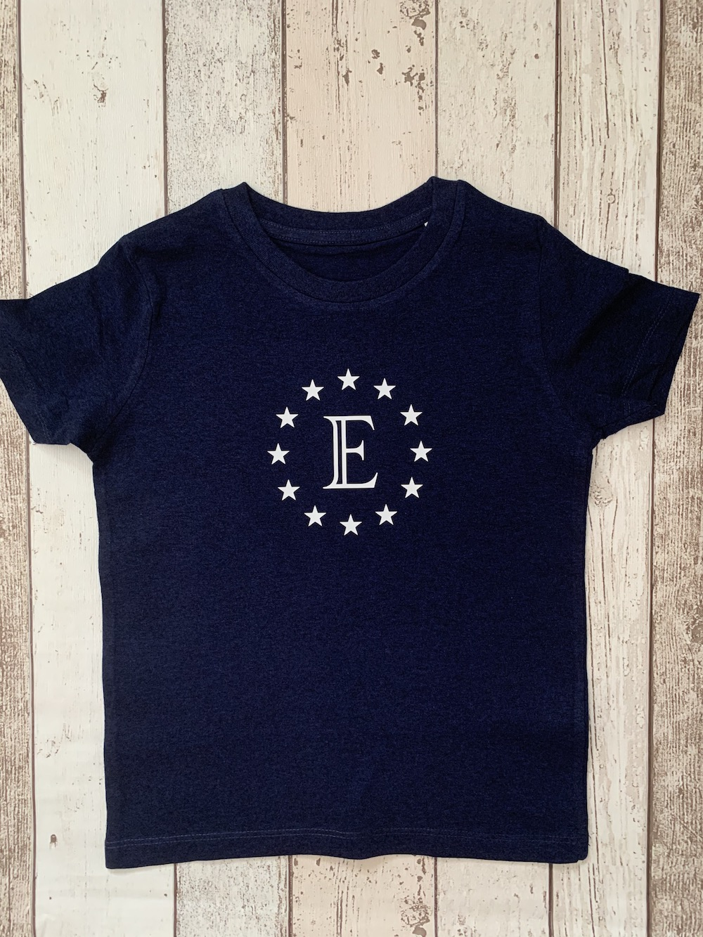 Stars Personalised Tshirt – Navy And White