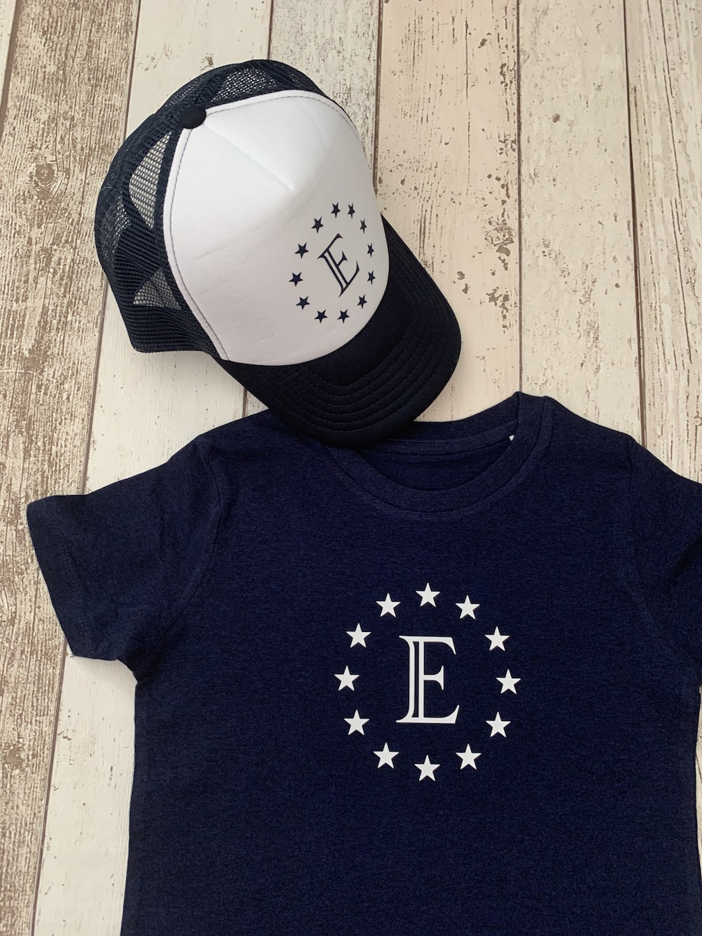 Stars Personalised Tshirt And Cap Set – Navy