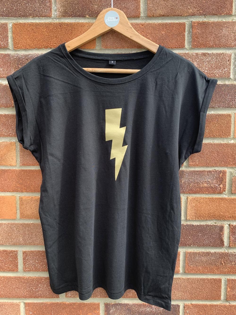 Lightening Bolt Tshirt – Black And Gold