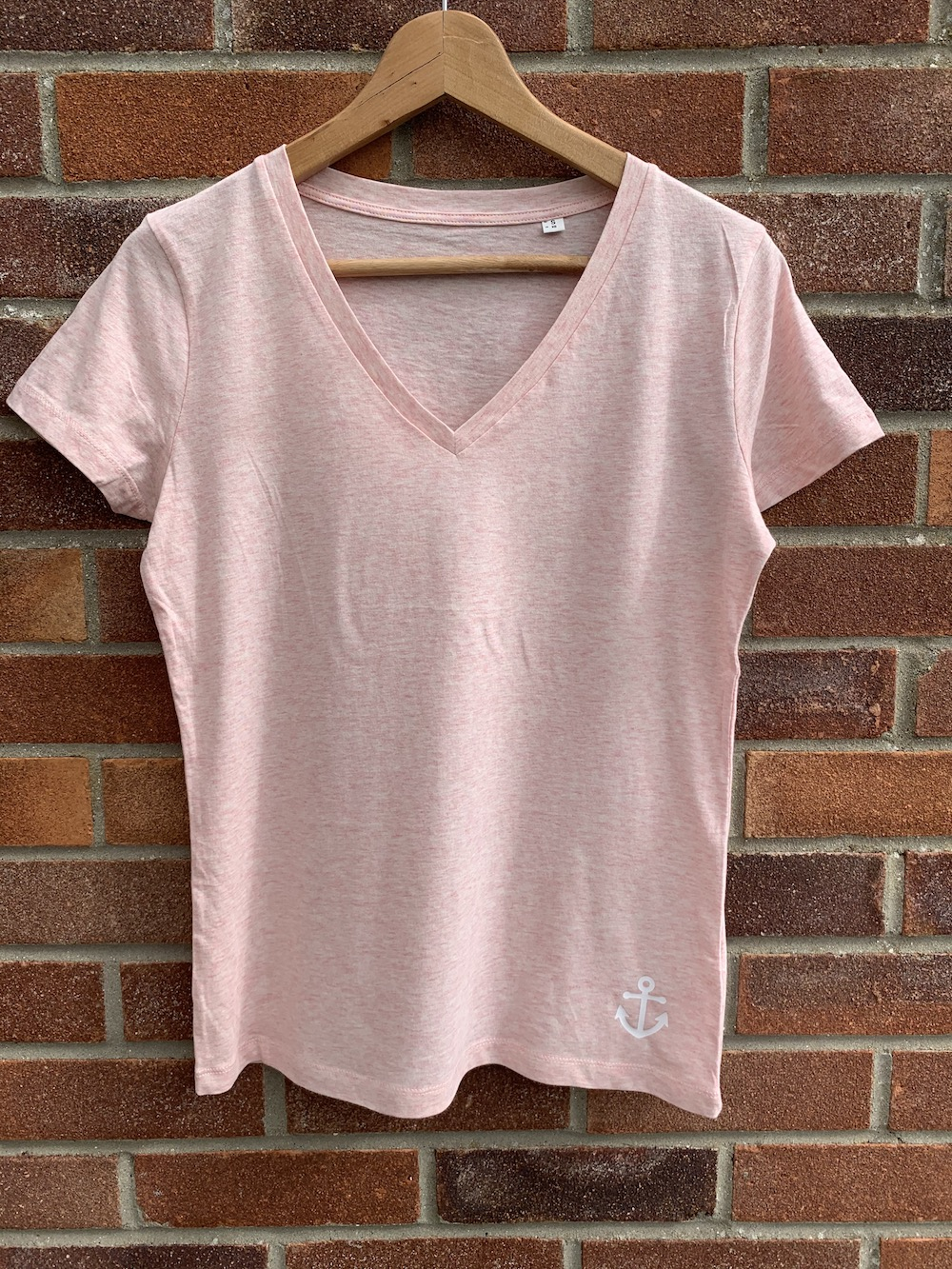 Anchor V Neck Classic Tshirt – Pink And White