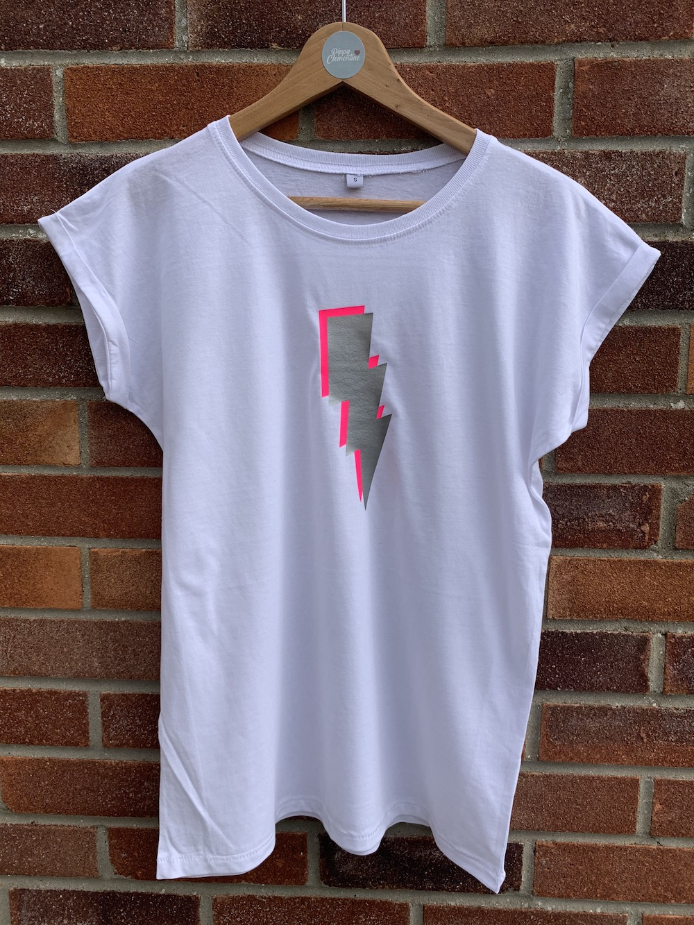 Lightening Bolt Tshirt – White, Neon Pink And Silver