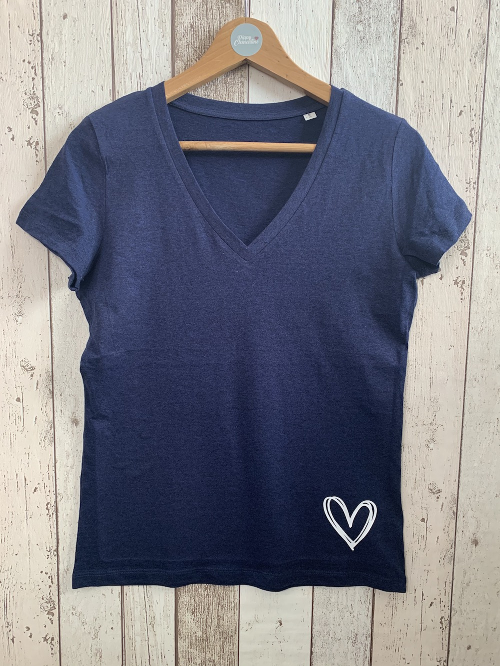 Heart V Neck Classic Tshirt – Navy And White