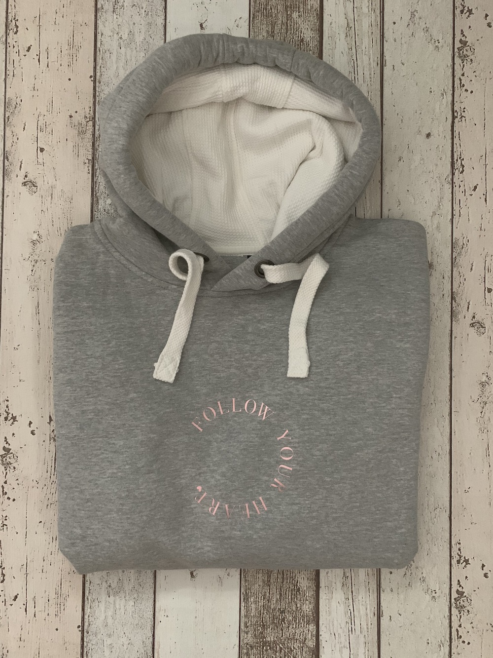 Supersoft Hoodie Follow Your Heart – Grey And Rose Gold
