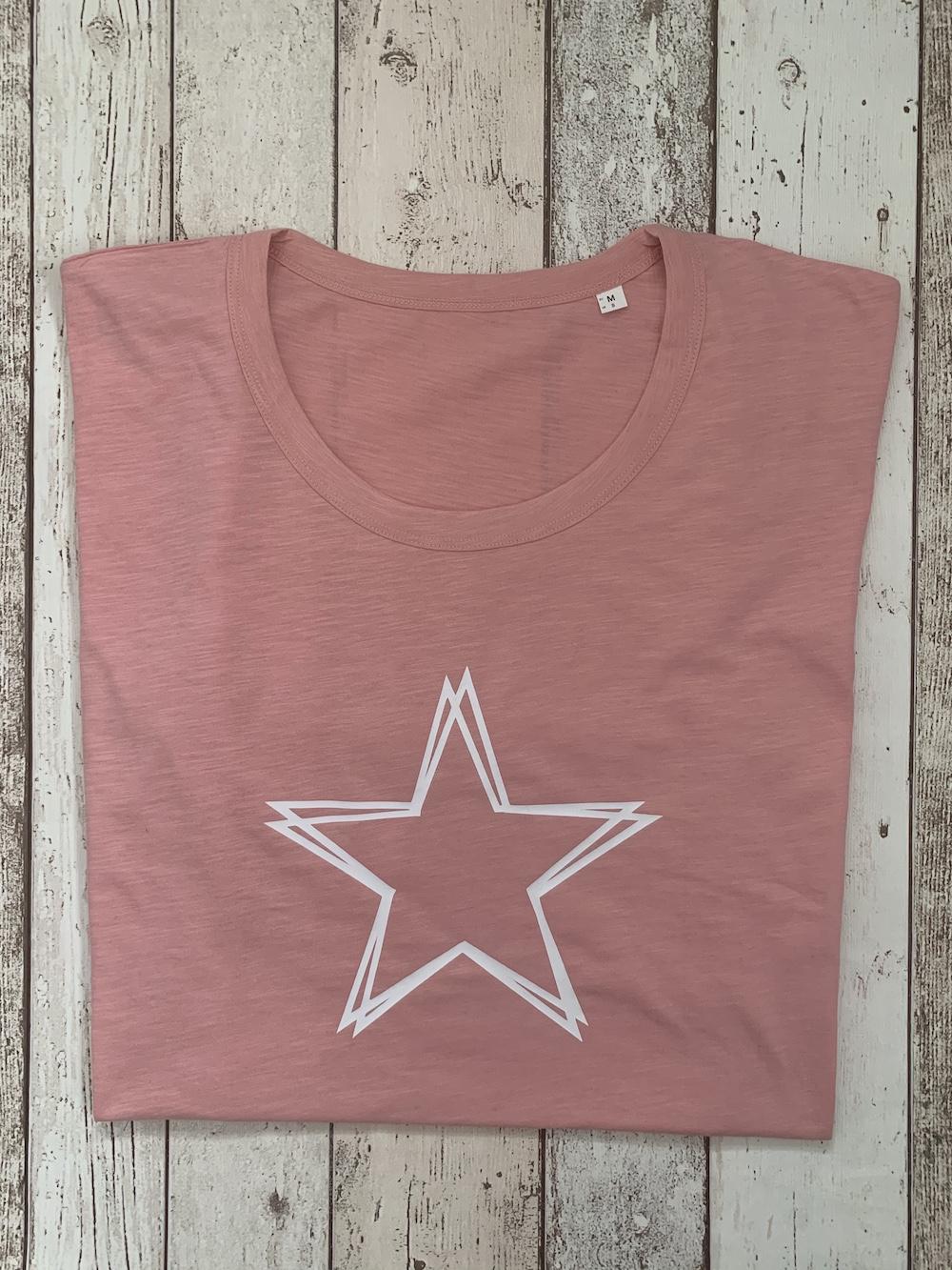ORGANIC – Star Lightweight Tshirt – Pink And White