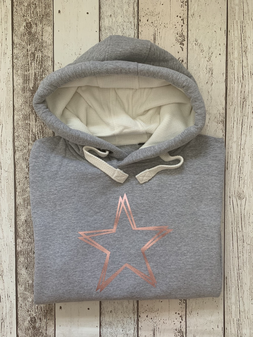 Waffle Hooded Jumper Signature Star – Grey And Rose Gold
