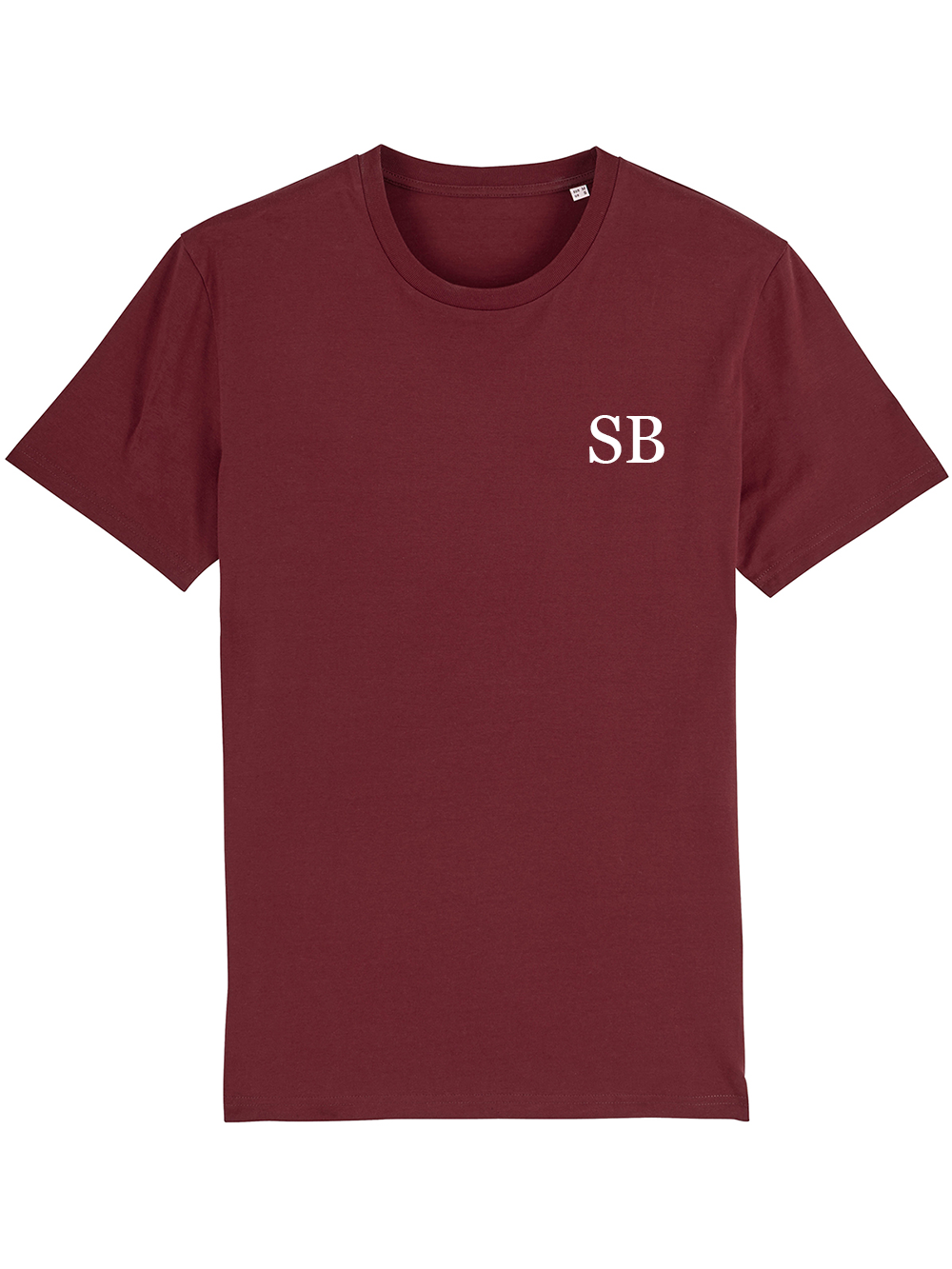 Mens Initial Tshirt – Burgundy