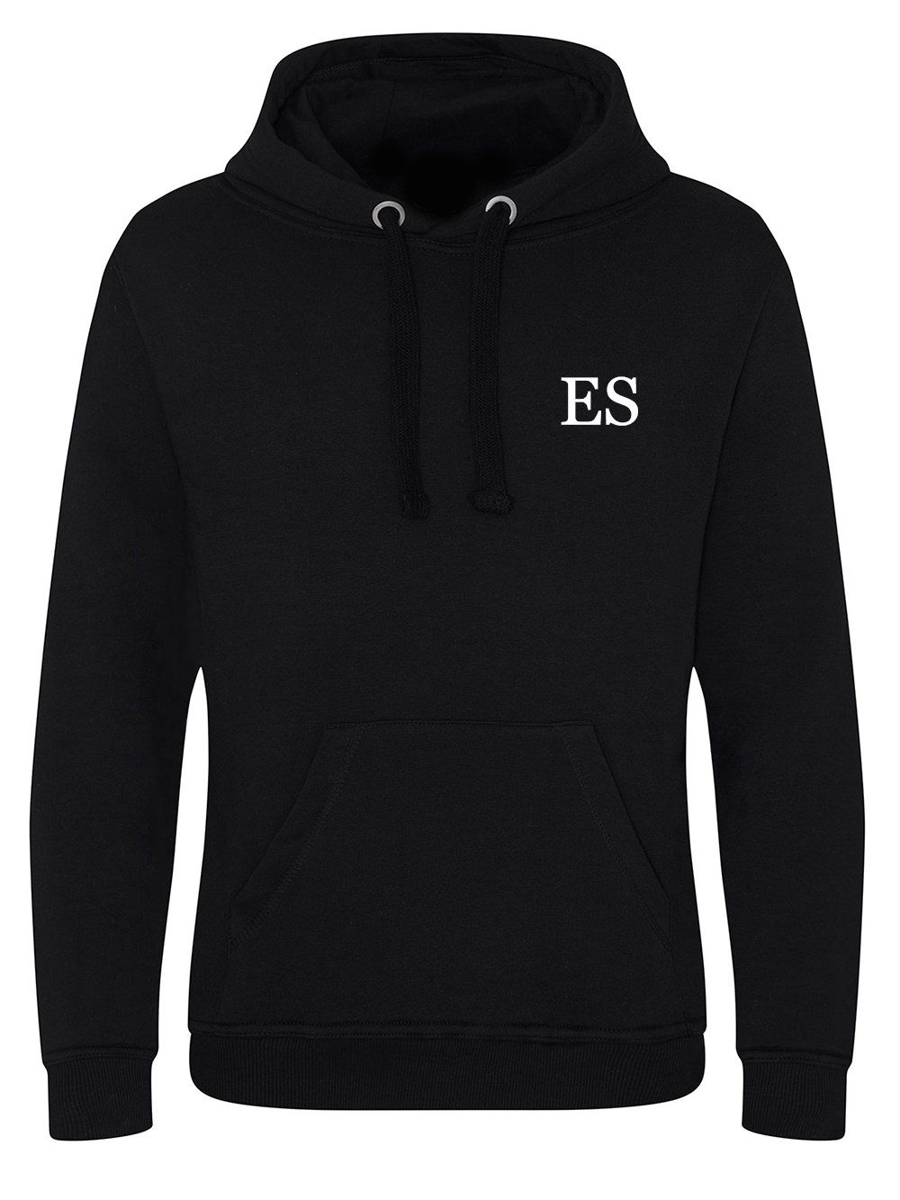Mens Initial Hooded Jumper – Black