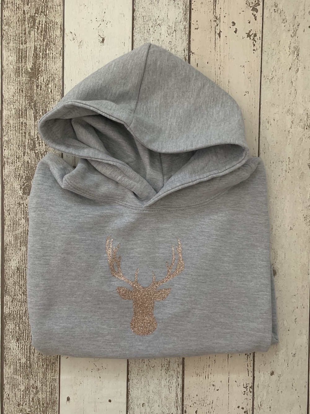 Hooded Jumper – Stag With Rose Gold Glitter – Age 7-8 Years