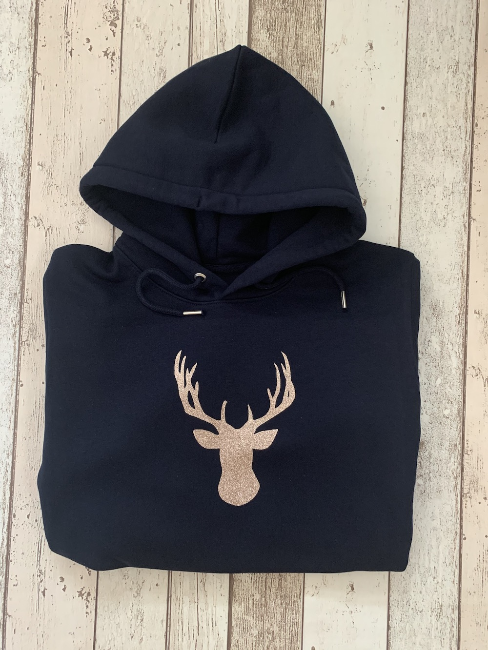 Womens Hooded Jumper – Navy With Rose Gold Stag – Size Small