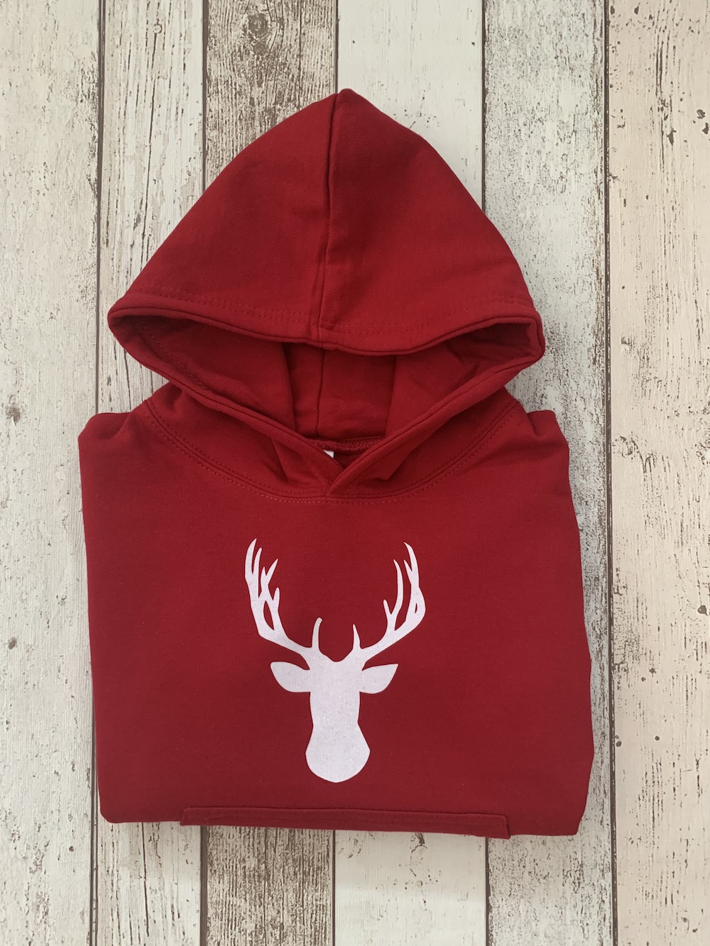 Hooded Jumper – Red With White Glitter Stag – Age 5-6 Years