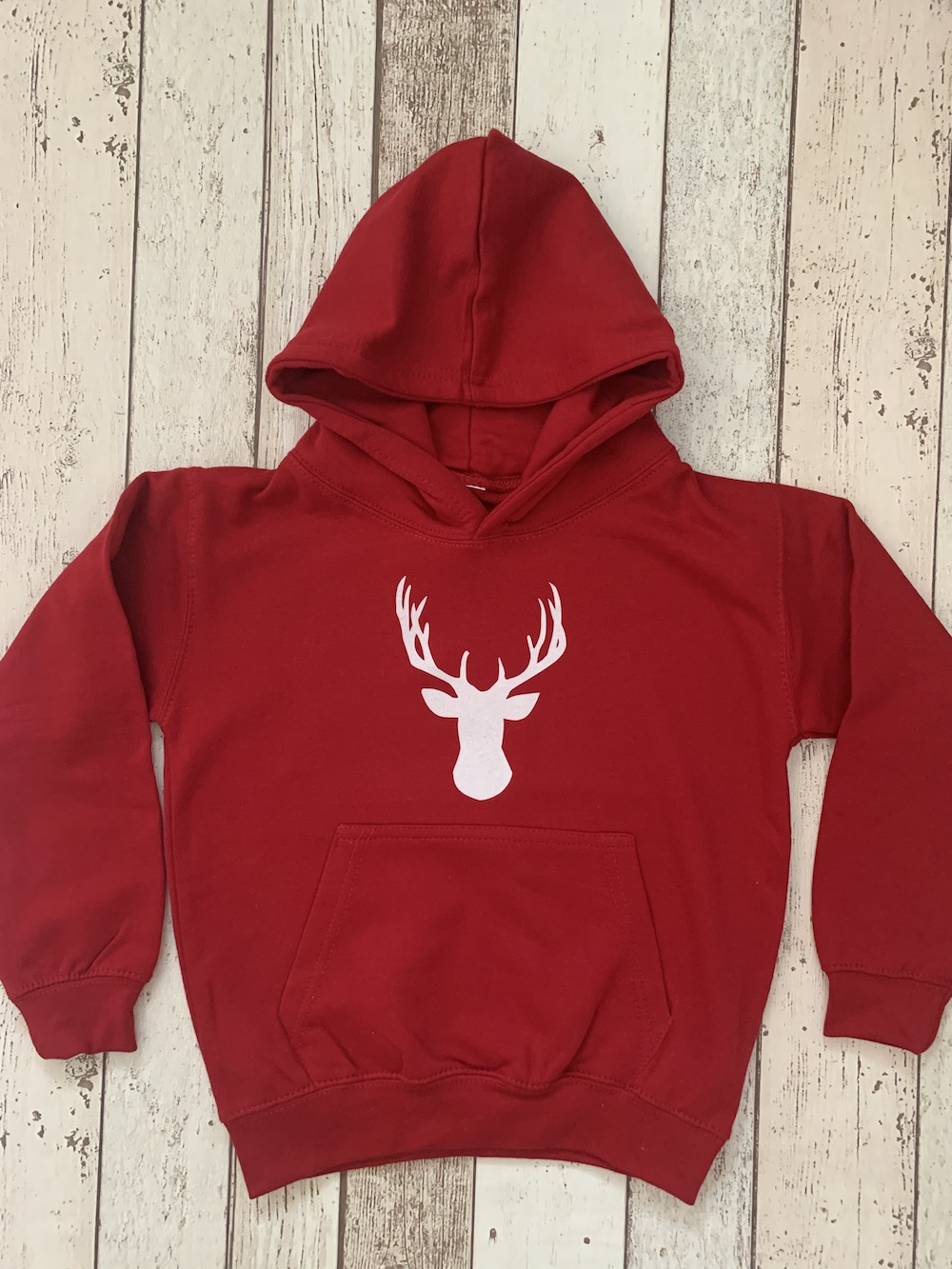 Stag Hoodie – Fire Red And White Glitter