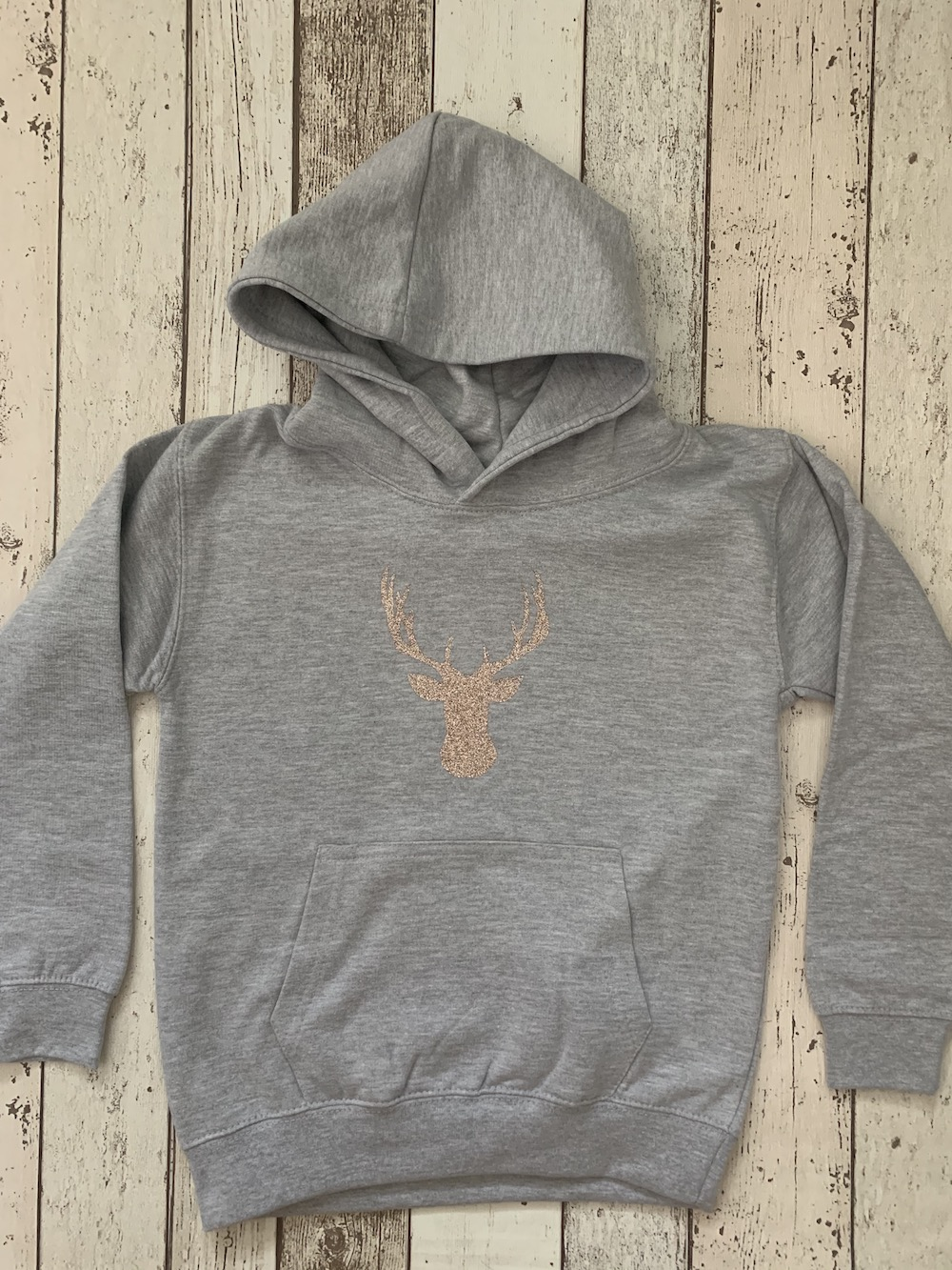 Stag Hoodie – Grey And Rose Gold Glitter