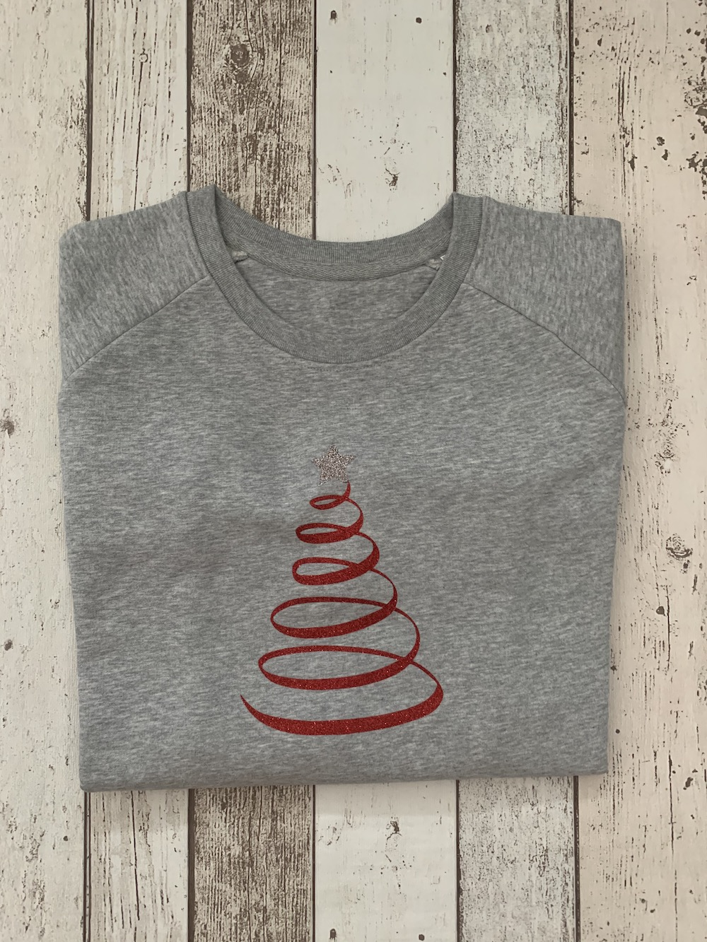 Christmas Tree Jumper – Grey And Red Glitter