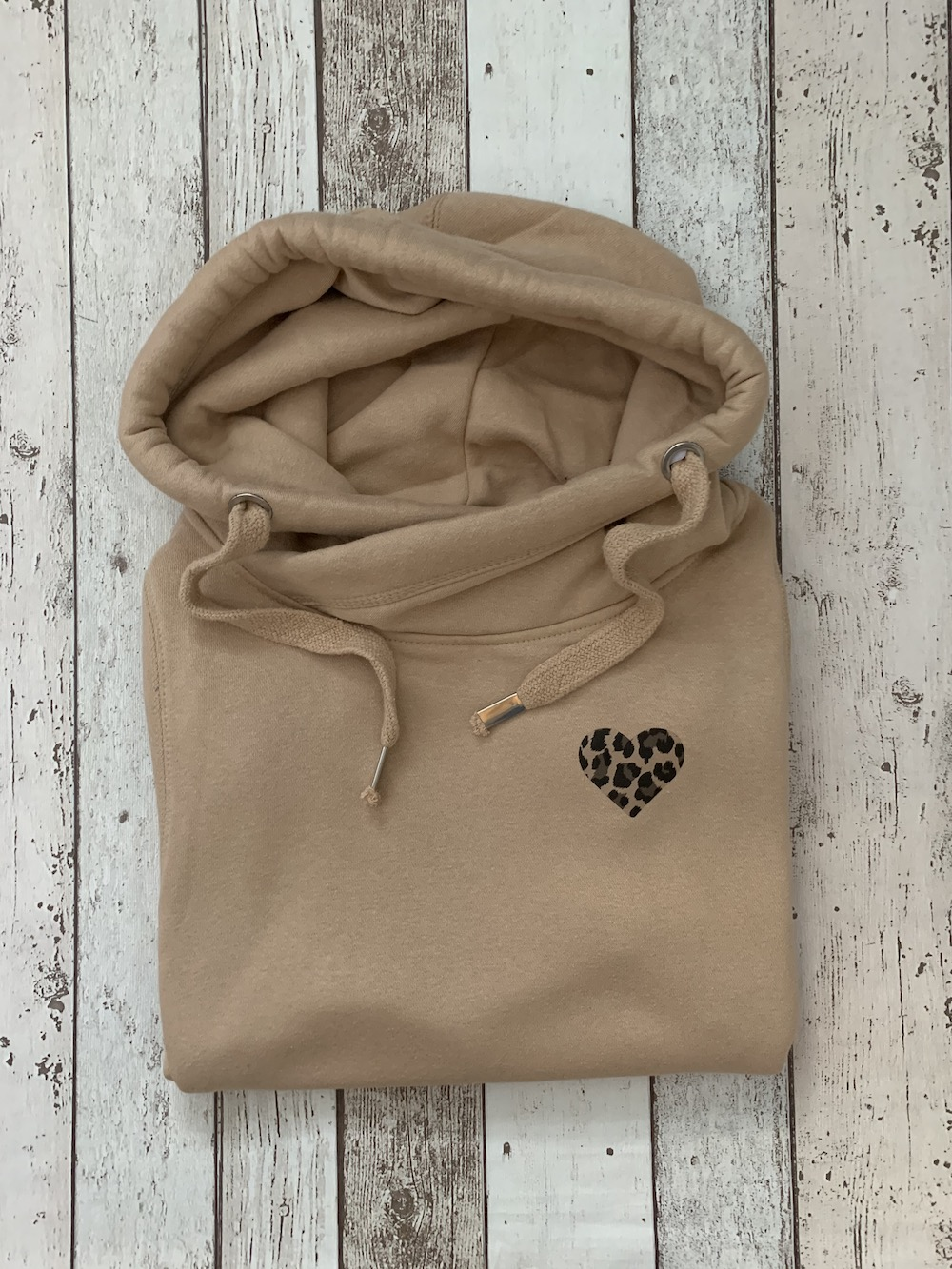 Cowl Neck Hooded Jumper – Honey With Leopard Print Heart – Size Small