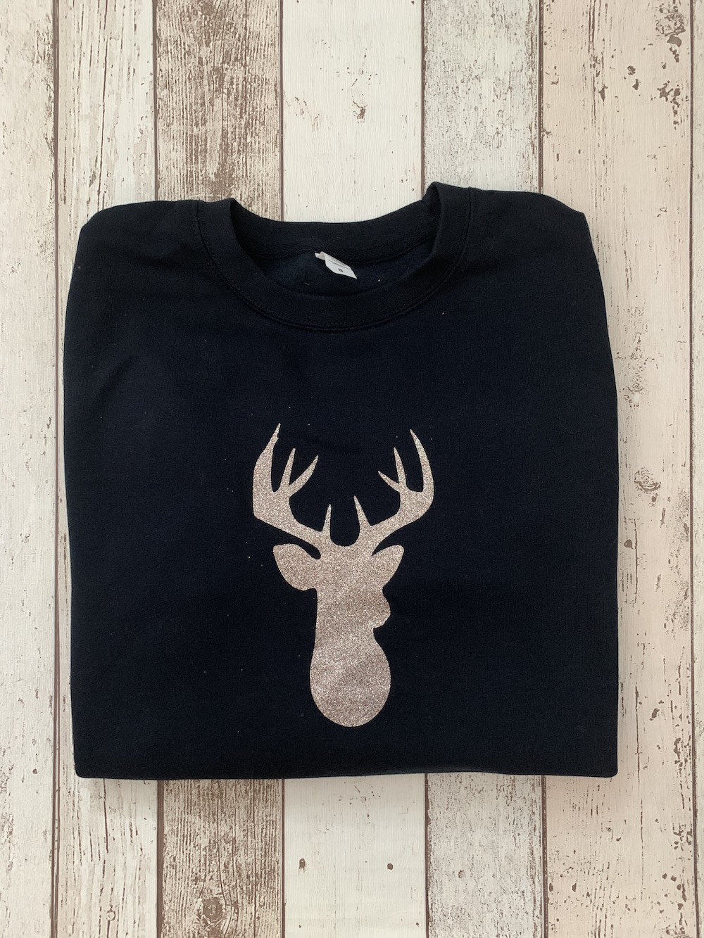 Jumper – Navy With Confetti Glitter Stag – Size Small