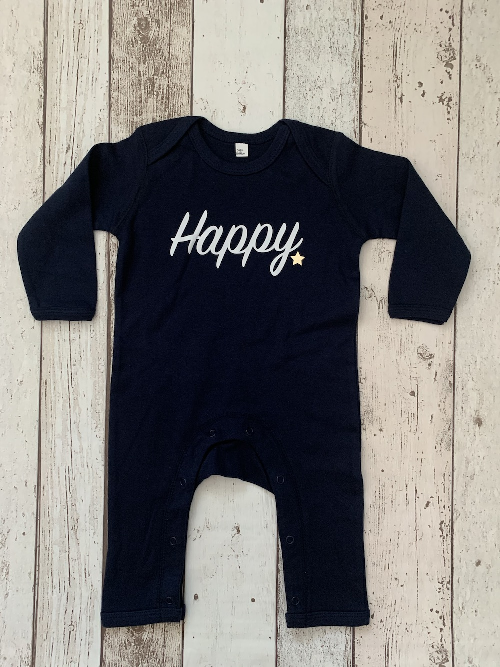 Baby Romper – Navy With Happy – Size 3-6 Months