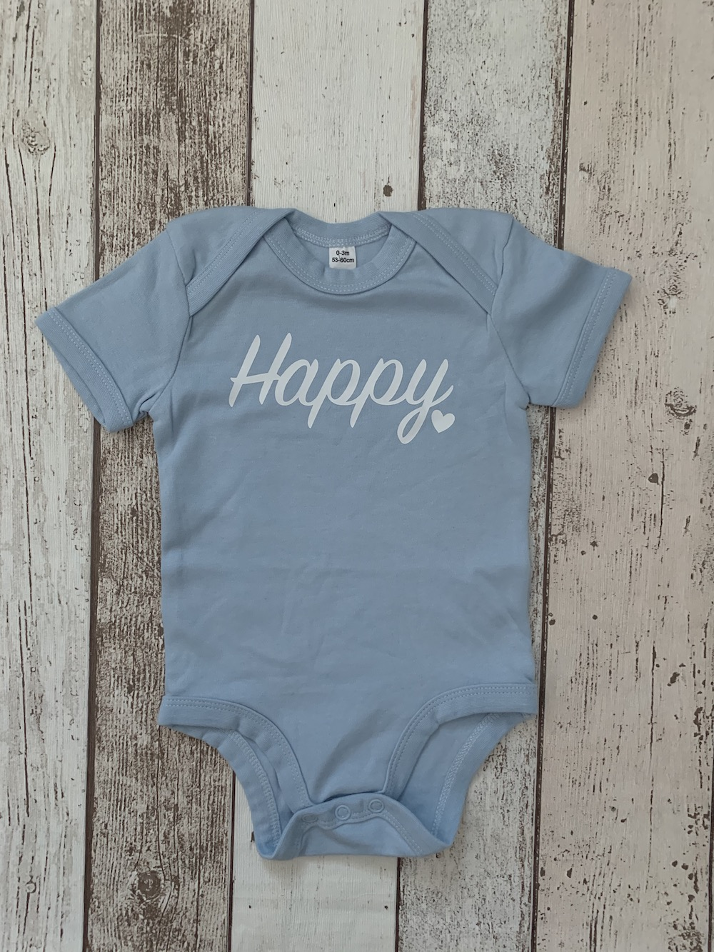 Baby Vest – Light Blue With Happy – Size 0-3 Months